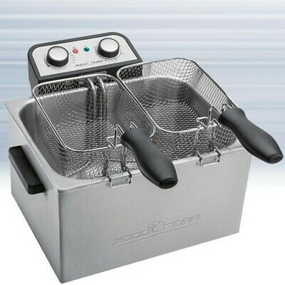 3000W Double Fritteuse Inox Friteuse Kaltzone Professionnel Cuisinier Grand