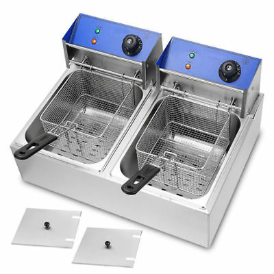 2 x 10L Stainless Steel Commercial Double Tank Electric Deep Fat Fryer Chip 20L
