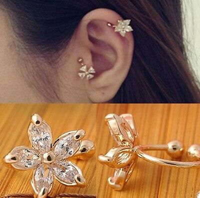 1 Pc Crystal Flower Ear Cuff Earring Fashion Women Wrap Clip On Jewelry
