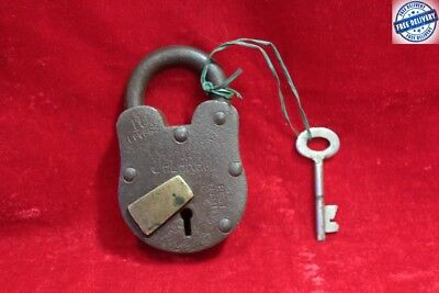 1900's Old Vintage Antique Rare Iron Brass Lock and Key Collectible BC75