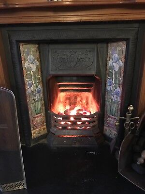 Antique Victorian Style Tiled Cast Iron Fireplace