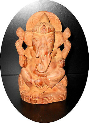 Burmese genuine Sandalwood hand-carved Ganesha early-mid 20th cent Unique Nice!