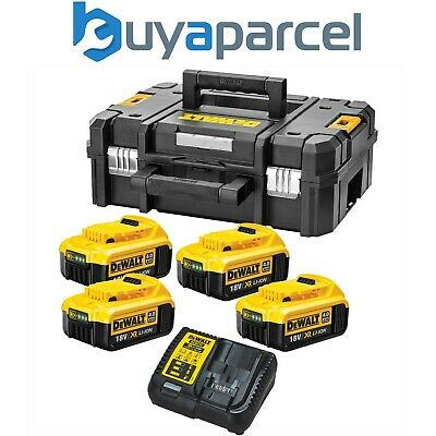 Dewalt XR Power Source Kit 4x DCB182 4.0ah 18v Batteries + DCB115 Charger +Tstak