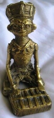 Antique Hand crafted Kneeling,Sitting Brass Tribal God Idol Figurine 1 of a Kind