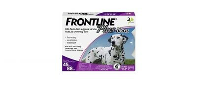 FRONTLINE Plus for Dogs Large Dog (45 to 88 pounds) Flea and Tick Treatment, 3 D