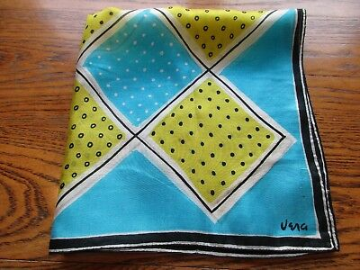 1950's Vera Silk Pocket Square Handkerchief RARE Lime & Aqua Graphic Mid Century