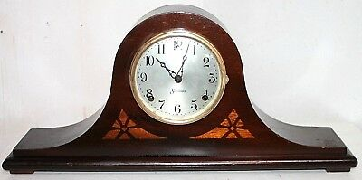 Antique Sessions Carved Mahogany *inlay No. 4 Time & Strike Tambour Mantel Clock