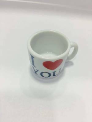 Porcelain cup with white color with I Love You 300ml nice cup