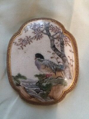Signed Antique Meiji Japanese Satsuma Porcelain Button Brooch