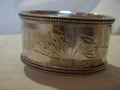 Aesthetic Victorian Napkin Ring Sterling Silver Sheffield 1880