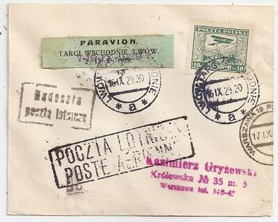 1929 Poland Early First Flight Cover, Scarce Special Cancels, High Value