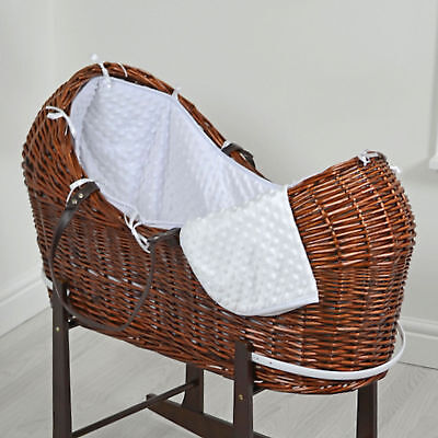 New 4Baby White Dimple Dark Wicker Baby Moses Basket / Snooze Pod & Mattress