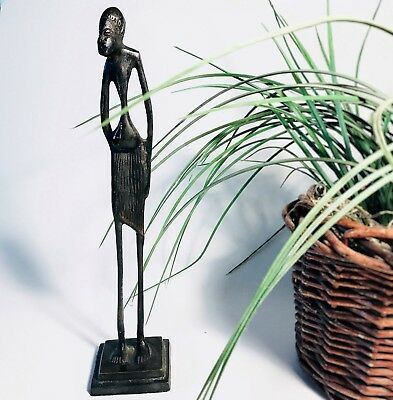 Vintage Tribal Art Metal Sculpture Tall African Male Figural Statue Aged Patina