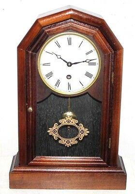 Vintage German Franz Hermle Octagon Top Carved Mahogany Parlor Shelf Clock.