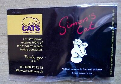 Pin Badge Simons Cat - Feed Me  (Cats Protection Charity Listing)