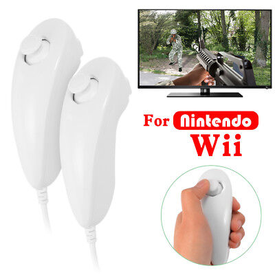 2pcs New Nunchuck Nunchuk Game Controller Joystick for Nintendo Wii White AC1245