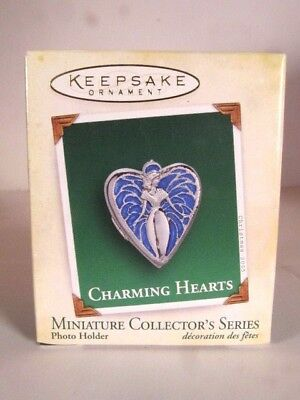 "2005 ""Charming Hearts"" photo holder, metal, Miniature series Hallmark Ornament"