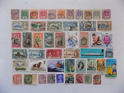 Great Britain & Col. col'n of stamps off paper defin. & Com-12GB11-some Ceylon