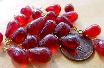 Vintage 7 x 12mm Red Glass Drop Beads Charms Embedded Loop India18