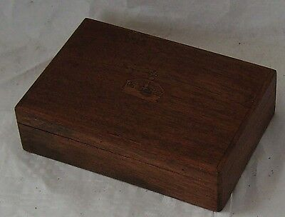Box Trinket Container Inlaid Crown On Lid Mahogany Solid Wood