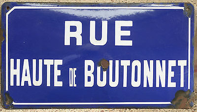 Old French enamel steel street sign road plaque name Haute de Boutonnet Mazamet