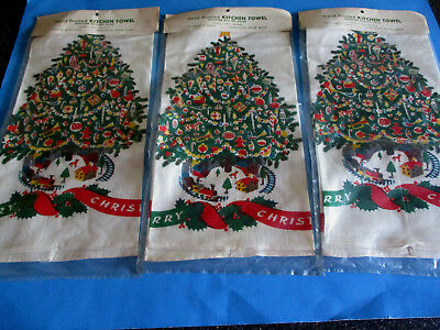 3 Nos Kitchen Towels X-Mas Motifs Hand-Printed Bestex Cotton Christmas Tree