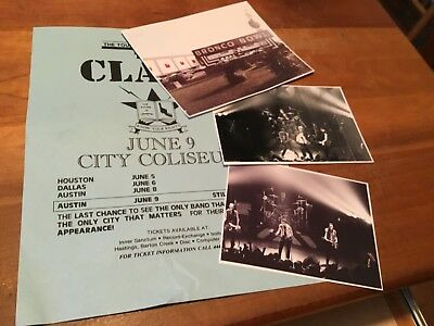 THE CLASH: Unpublished Live Photos #2, Show Flyer, Dallas Texas,1985.