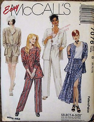 McCALL'S Sewing Pattern #7076 MISSES UNLINED JACKET TOP SKIRT PANT Sz 8-12 UNCUT