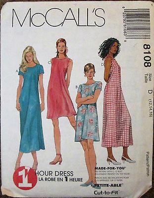 McCALL'S Sewing Pattern #8108 MISSES 1 HOUR PULLOVER DRESS Sz 12-16 UNCUT