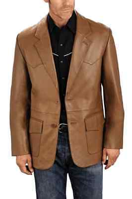 Classic Men Genuine Lambskin Leather Blazer Coat Soft TWO BUTTON Vintage Jacket