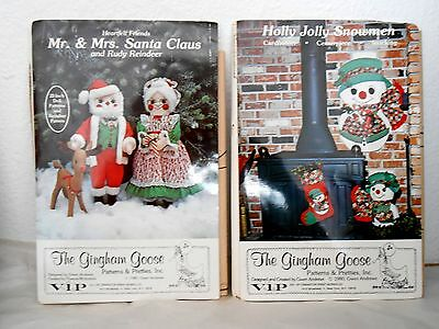"""2 Vintage 1980 Sewing Patterns 22"""" MR. & MRS CLAUS, RUDY & HOLLY JOLLY SNOWMEN"""