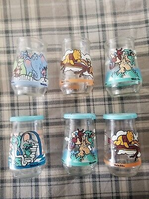 Lot 6 Welch's Jelly Jars Winnie the Pooh and Dr. Seuss