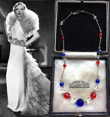VINTAGE ART DECO 1920s 30s RED WHITE BLUE GLASS BEADS NECKLACE XMAS PARTY GIFT