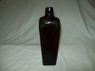 Crude Antique  Dark olive green blown glass case Gin  bottle 1880's  9 1/2""