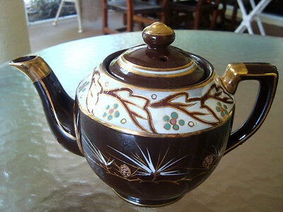 Vintage Teapot Brown Clay Pottery Hand Painted Made Japan - Beautiful Condition