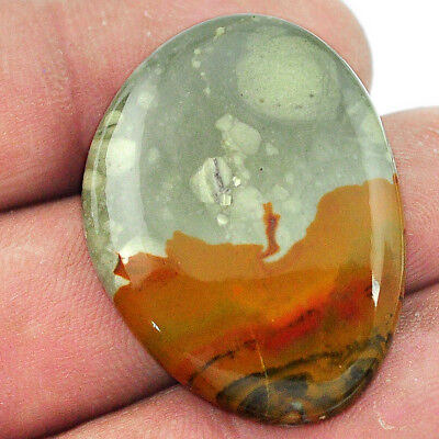 32.40cts rocky butte picture jasper cabochon 32x24 mm fancy loose gemstone s1968