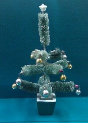 UNUSUAL VINTAGE Christmas BRUSH TREE~Mercury Glass Ornaments~Snow~STAR TOP~11.5""