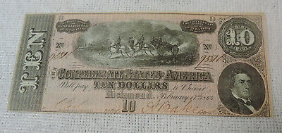 1864 Confederate States of America $10 Ten Dollar Bill Civil War Currency Note