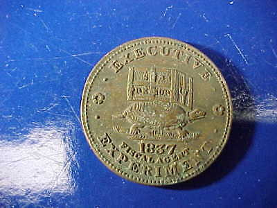 Orig 1837 HARD TIMES TOKEN -EXECUTIVE EXPERIMENT w DONKEY + TURTLE Image
