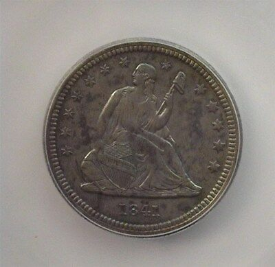 1841-O Seated Liberty Silver 25 Cents -Double Die Obv- Icg Au58 Looks Bu! Rare!