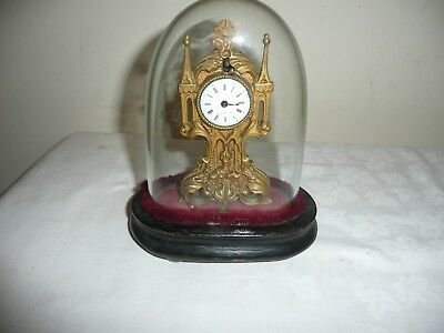 Unusual,Small French Gothic Mantle Clock in Glass Dome, Signed, Roi a Paris.