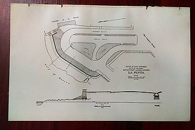 1900 Sketch Map La Punta Street Cleaning and Parks Havana Cuba