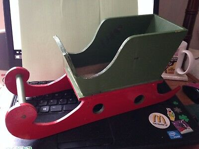 Vintage Handmade Wooden Santa Christmas Sleigh Red Green Decoration