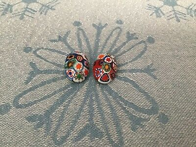 Millefiori Clip On Earrings Lovely Colors Made In Italy Design & Detail