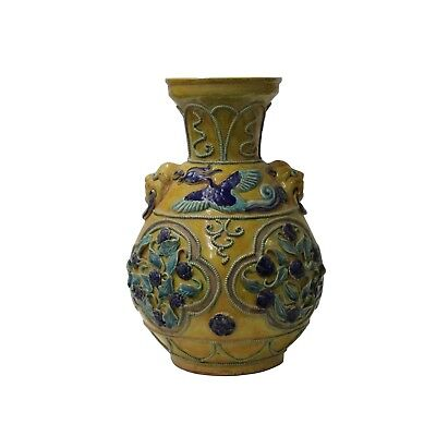 Handmade Ceramic Yellow Blue Dimensional Flower Vase Jar cs4660