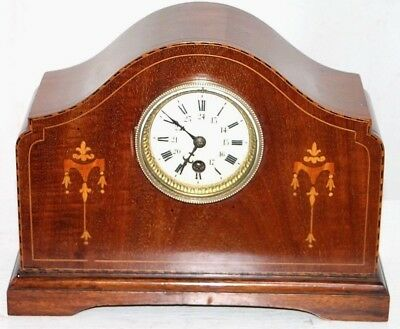 Antique Inlaid French Mantel Clock W/ Porcelain Dial In Military & Civilian Time
