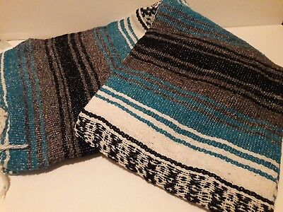 72X52 Hand Made Authentic Mexican Falsa Blanket Throw Rug Blue gray white black