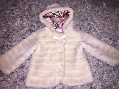 Girls Ted Baker Fur Coat Age 18-24 Months Gorgeous!!