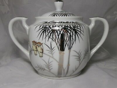 Vintage Porcelain Kutani Sugar Bowl With Lid Silver Trim Owls In Bamboo Tree