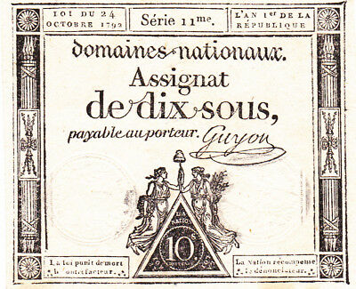 10 Sous Very Fine+  Banknote From French Revolution 1793!pick-A68